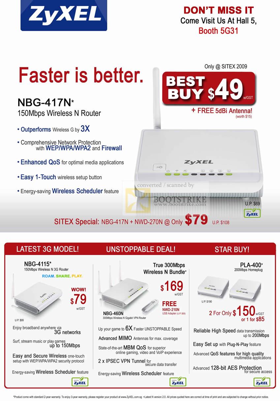 Sitex 2009 price list image brochure of ZyXEL Wireless N Router NBG 417N 4115 Homeplug Gigabit Router