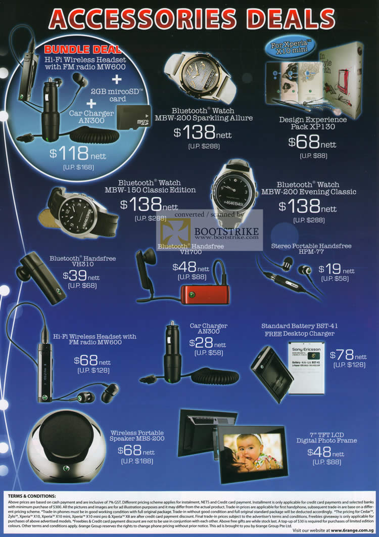Sitex 2010 price list image brochure of 6Range Mobile Accessories Bluetooth Handsfree Headset Watch MBW 200 Digital Photo Frame