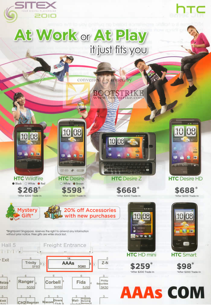 Sitex 2010 price list image brochure of AAAs Mobile Phones HTC Wildfire Desire Z HD Mini Smart