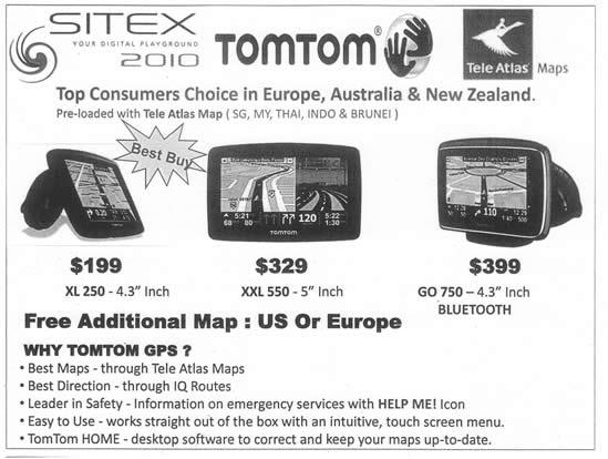 Sitex 2010 price list image brochure of AAAs TomTom GPS XL 250 XXL 550 GO 750 Tele Atlas Maps