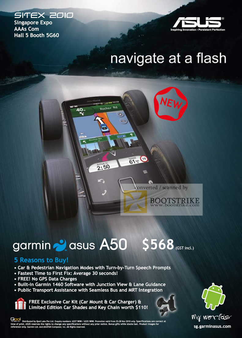 Sitex 2010 price list image brochure of ASUS Garmin A50 Junction View GPS