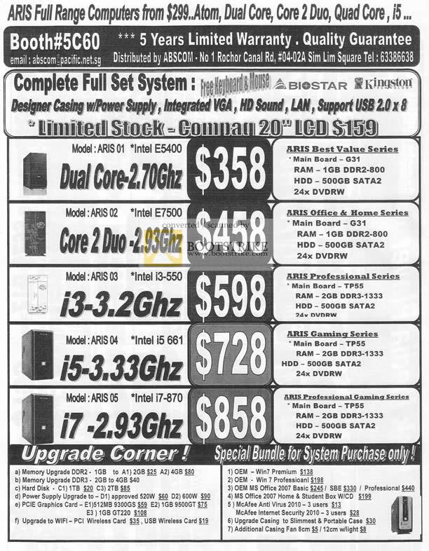 Sitex 2010 price list image brochure of Abscom Desktop System ARIS 01 02 03 04 05 Best Value Gaming Professional Office Home Biostar Kingston