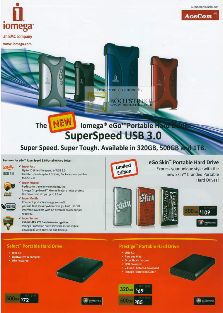 Sitex 2010 price list image brochure of AceCom Iomega External Storage Superspeed EGo Skin Select Portable Prestige