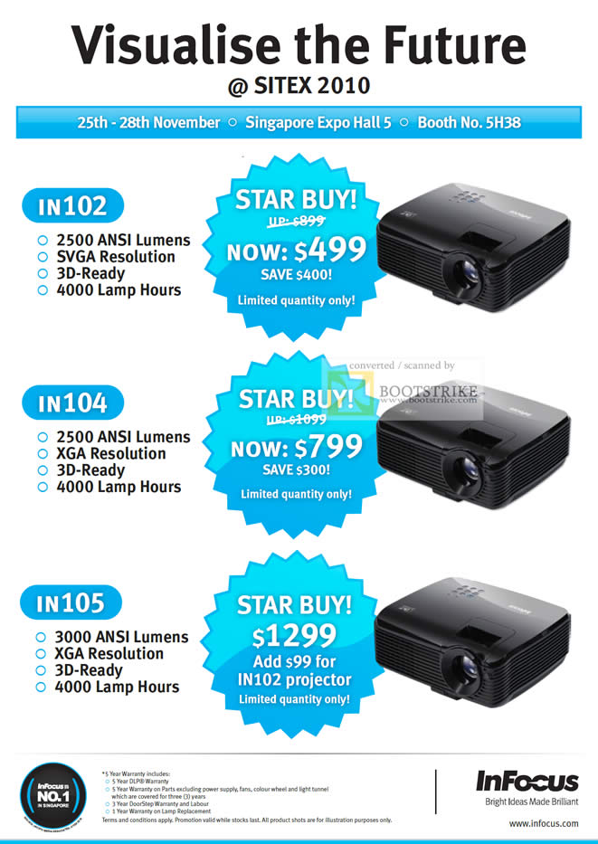 Sitex 2010 price list image brochure of Acecom Infocus Projectors IN102 IN104 IN105