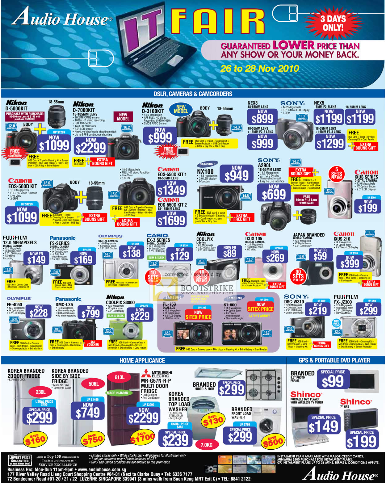 Sitex 2010 price list image brochure of Audio House Digital Cameras DSLRS Nikon Canon Casio Sony Panasonic Shinco GPS Fridge Washer