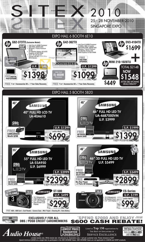 Sitex 2010 price list image brochure of Audio House HP Notebooks G62 G42 DV3 Samsung LCD LED TV Series 4 5 Digital Cameras