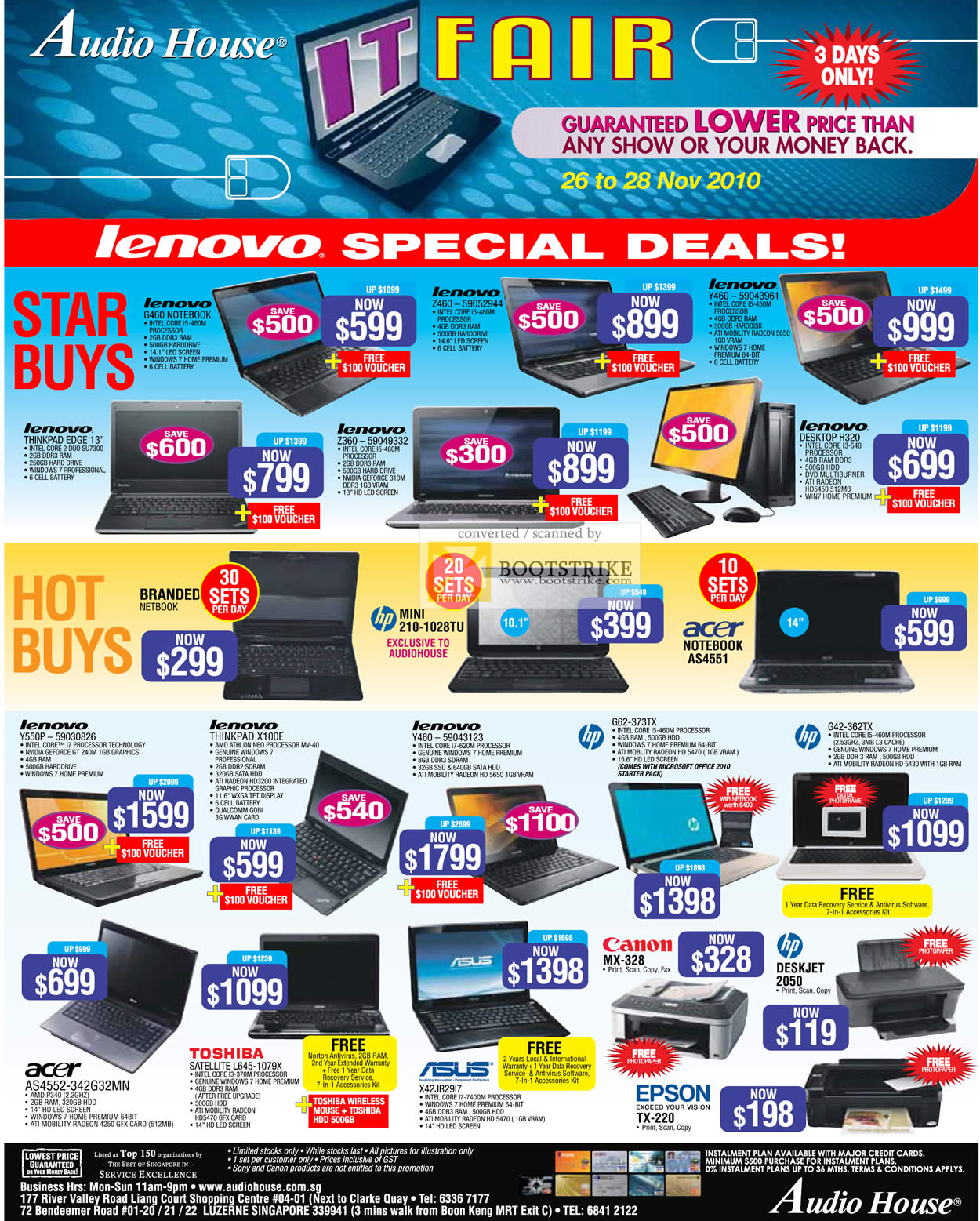 Sitex 2010 price list image brochure of Audio House Lenovo Notebooks Thinkpad Edge G460 Z360 Z460 Y460 H320 X100E HP Mini 210 Canon ASUS Printers