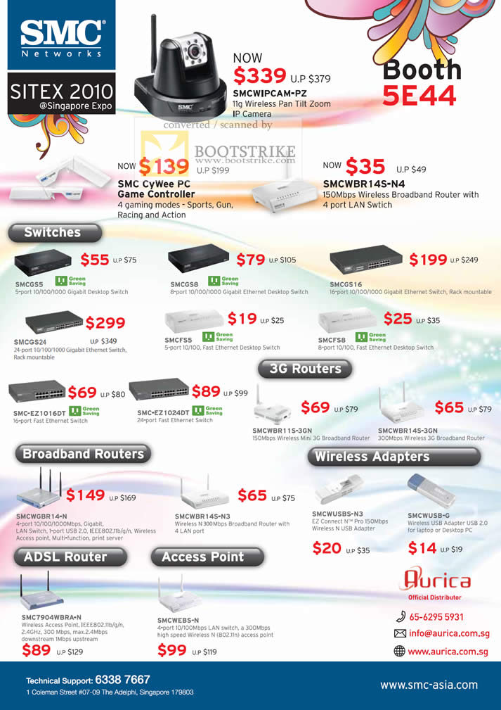 Sitex 2010 price list image brochure of Aurica SMC Networks IPCam Game Controller CyWee Wireless N Router LAN Switches Gigabit Adapters ADSL