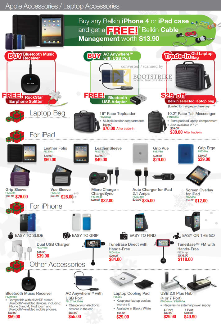 Sitex 2010 price list image brochure of Belkin Case IPhone IPad Bluetooth AC Anywhere Bags Pace Laptop Leather Folio Sleeve Charger TuneBase