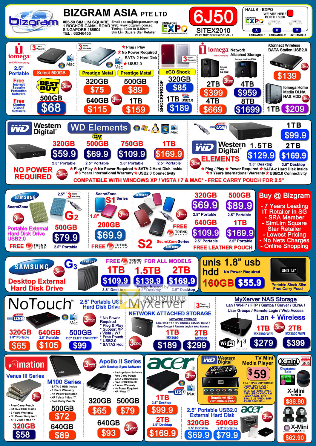 Sitex 2010 price list image brochure of Bizgram External Storage Iomega Prestige WD Elements Samsung G3 Unis NoTouch MyXerver NAS Imation Acer X Mini