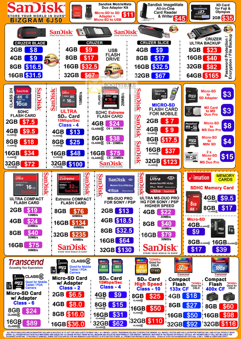 Sitex 2010 price list image brochure of Bizgram Sandisk Flash Drive Cruzer Blade Slice Ultra Backup SDHC MicroSD M2 MS Duo Pro Compact Flash CF Transcend