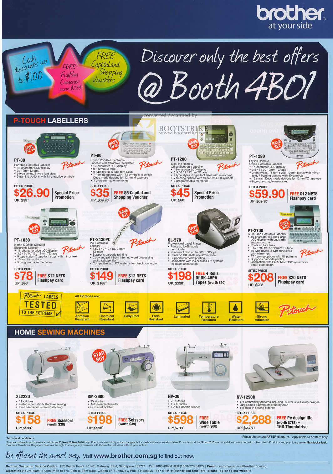 Sitex 2010 price list image brochure of Brother P Touch Labellers Home Sewing Machines