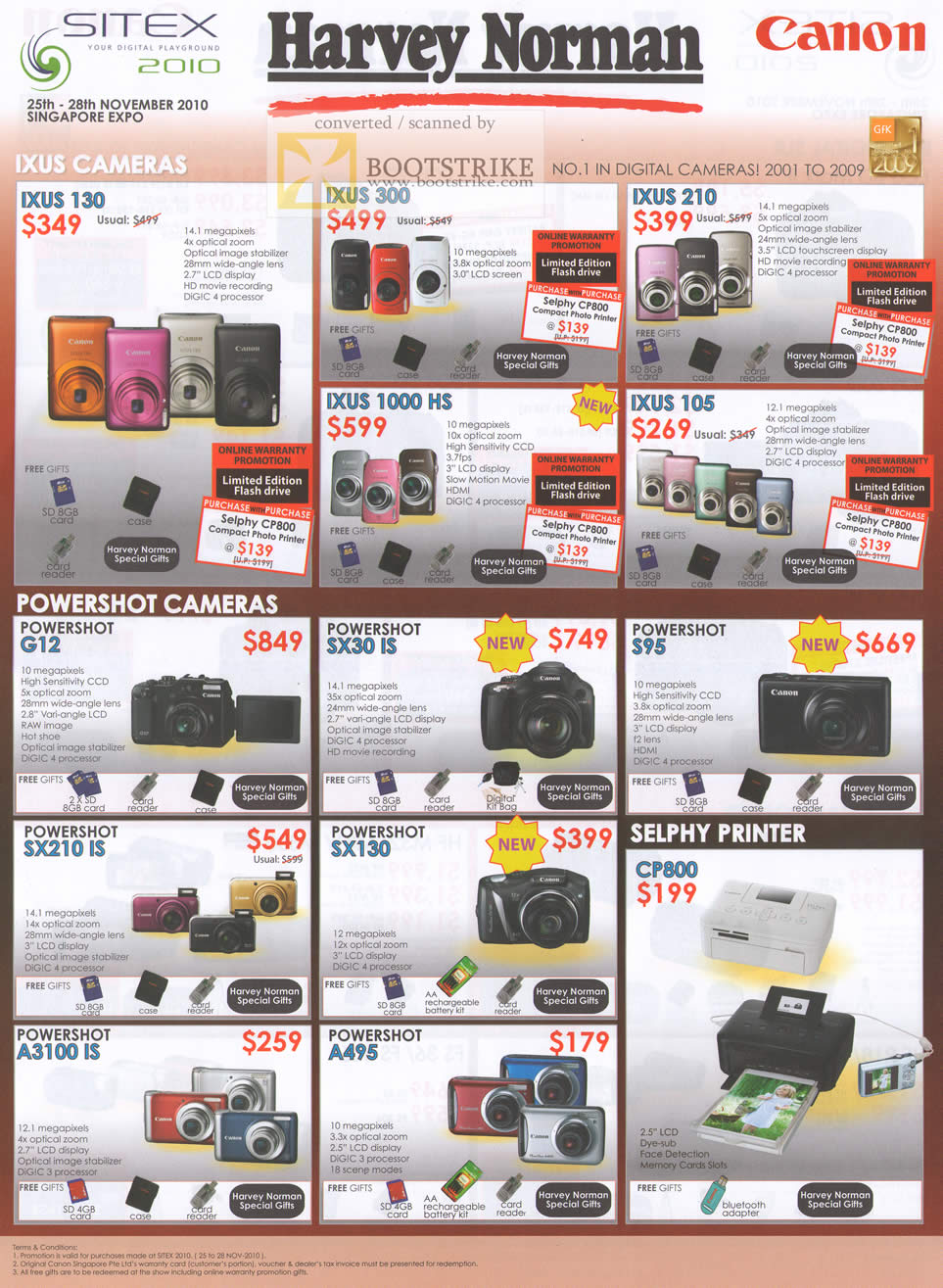 Sitex 2010 price list image brochure of Canon Digital Cameras Ixus 130 300 210 1000 HS 105 Powershot G12 SX30 IS Selphy Printer CP800