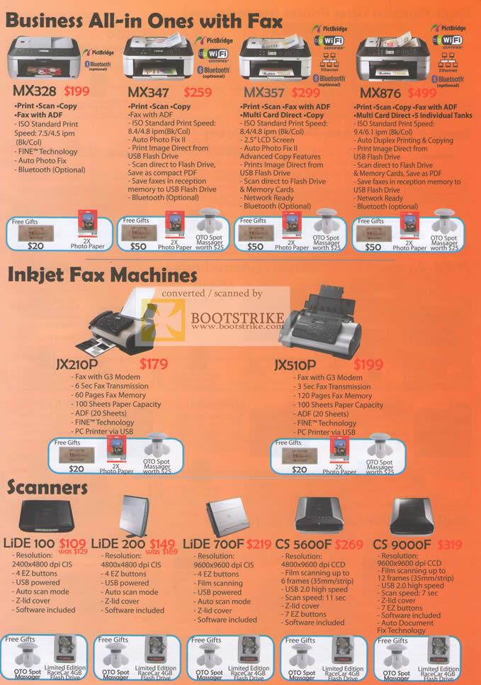 Sitex 2010 price list image brochure of Canon Printers Business MX328 MX347 MX357 MX876 Inkjet JX210P JX510P Scanners Lide 100 200 700F CS 5600F CS 9000F