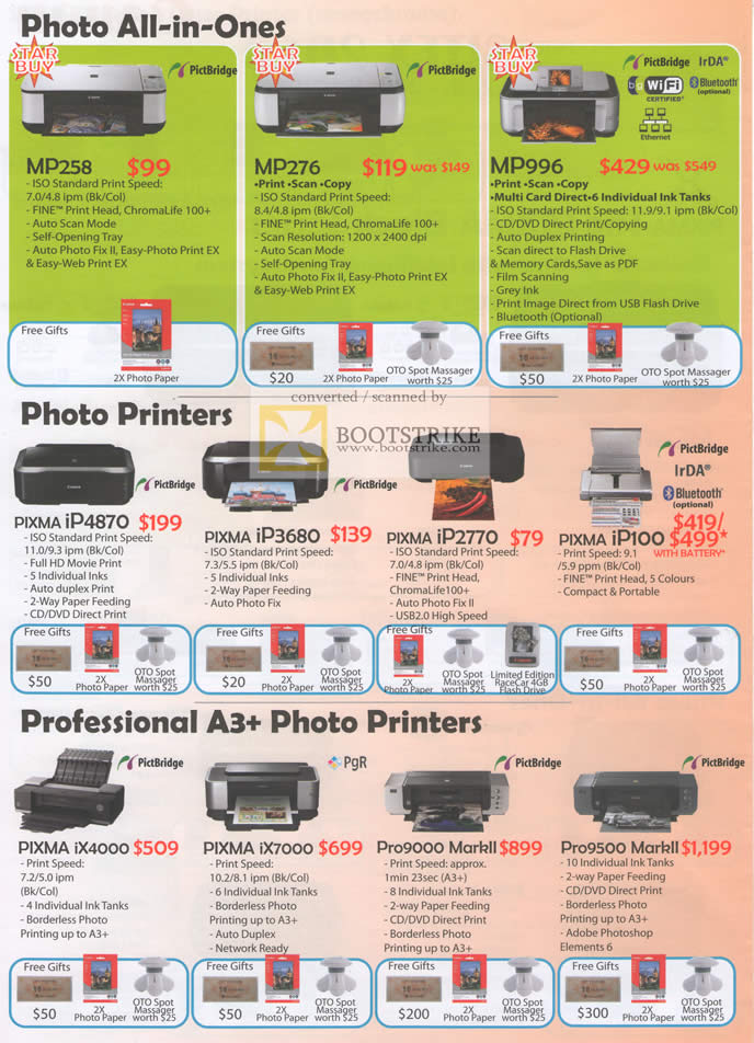 Sitex 2010 price list image brochure of Canon Printers Photo AIO MP258 MP276 MP990 Pixma IP4870 IP3680 IP2770 A3 Professional IX4000 MarkII