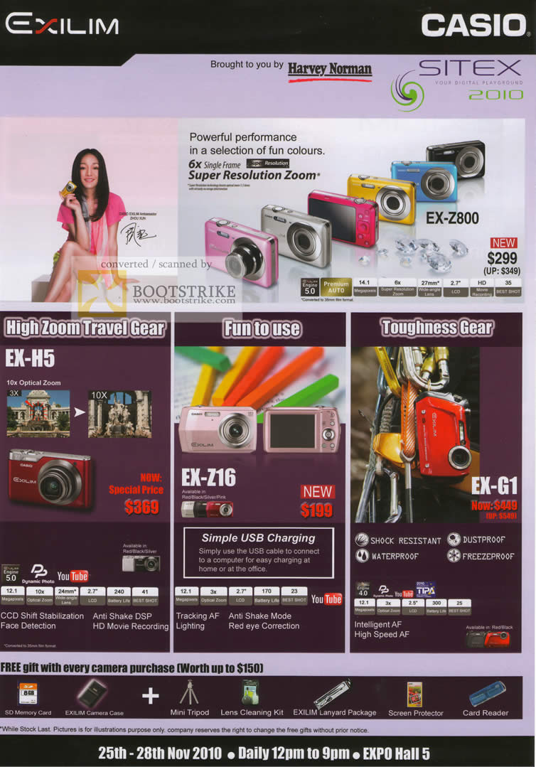 Sitex 2010 price list image brochure of Casio Digital Cameras EX H5 Z16 G1