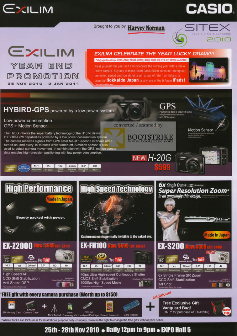 Sitex 2010 price list image brochure of Casio Digital Cameras H 20G EX Z2000 FH100 S200