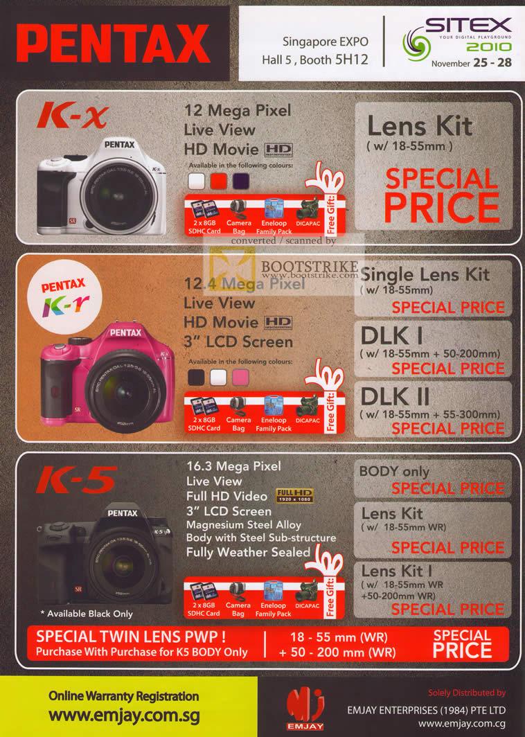 Sitex 2010 price list image brochure of Challenger Pentax Digital Cameras K X K R K 5 Lens Kit DLK I II Lens Kit DSLR