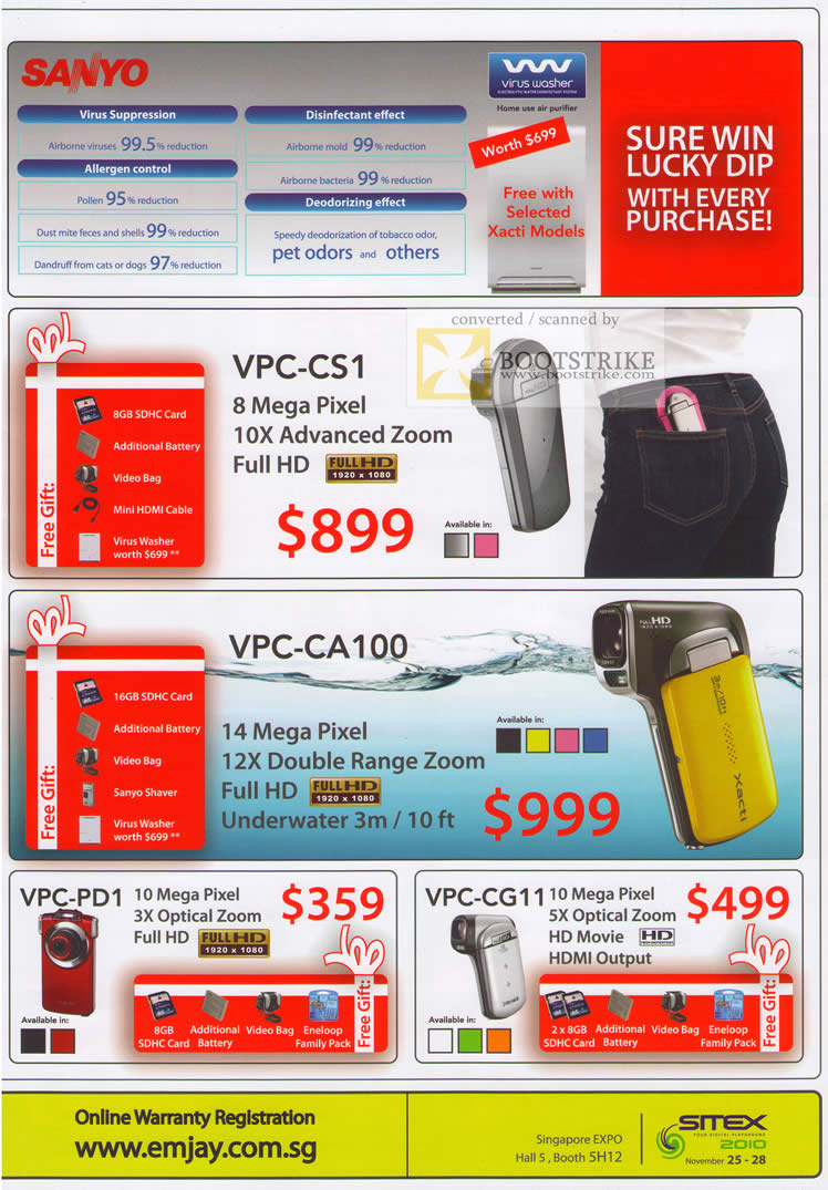 Sitex 2010 price list image brochure of Challenger Sanyo Virus Washer VPC CS1 CA100 Video Camcorder PD1 CG11