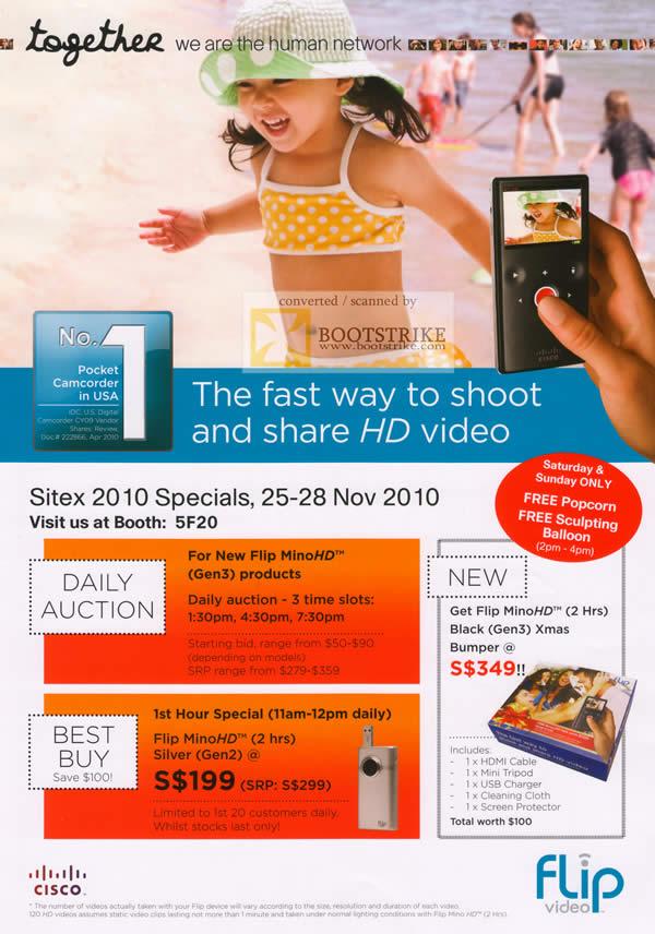 Sitex 2010 price list image brochure of Cisco Flip HD Pocket Camcorder MinoHD Sliver Gen2 Gen3