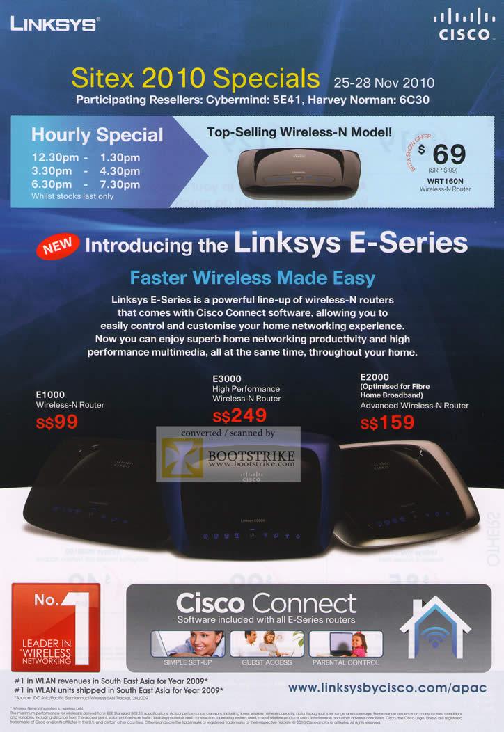Sitex 2010 price list image brochure of Cisco Linksys E Series Wireless E1000 E3000 E200 Cisco Connect Hourly Special