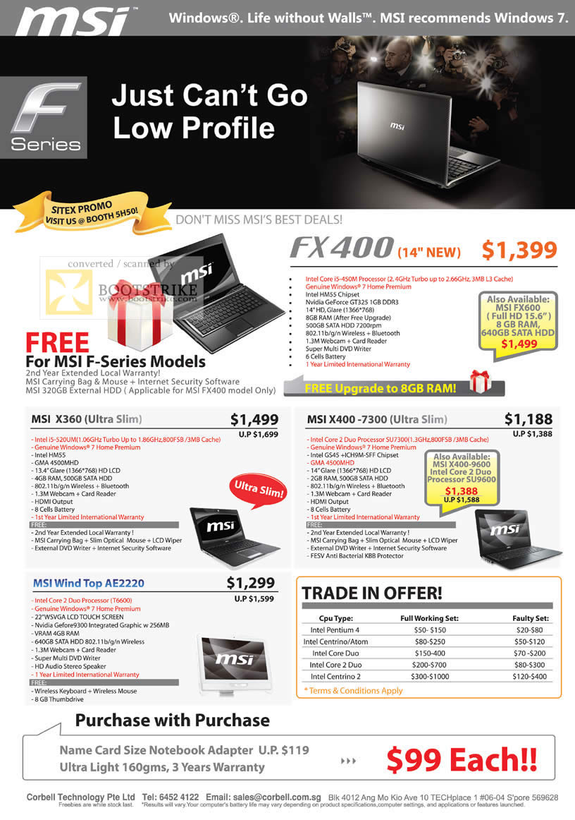 Sitex 2010 price list image brochure of Corbell MSI Notebooks F Series FX400 X360 X400 7300 PC Wind Top AE2220 Trade In