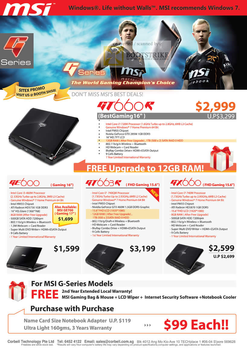 Sitex 2010 price list image brochure of Corbell MSI Notebooks G Series Gaming GT660R GE600 GT663R GX660
