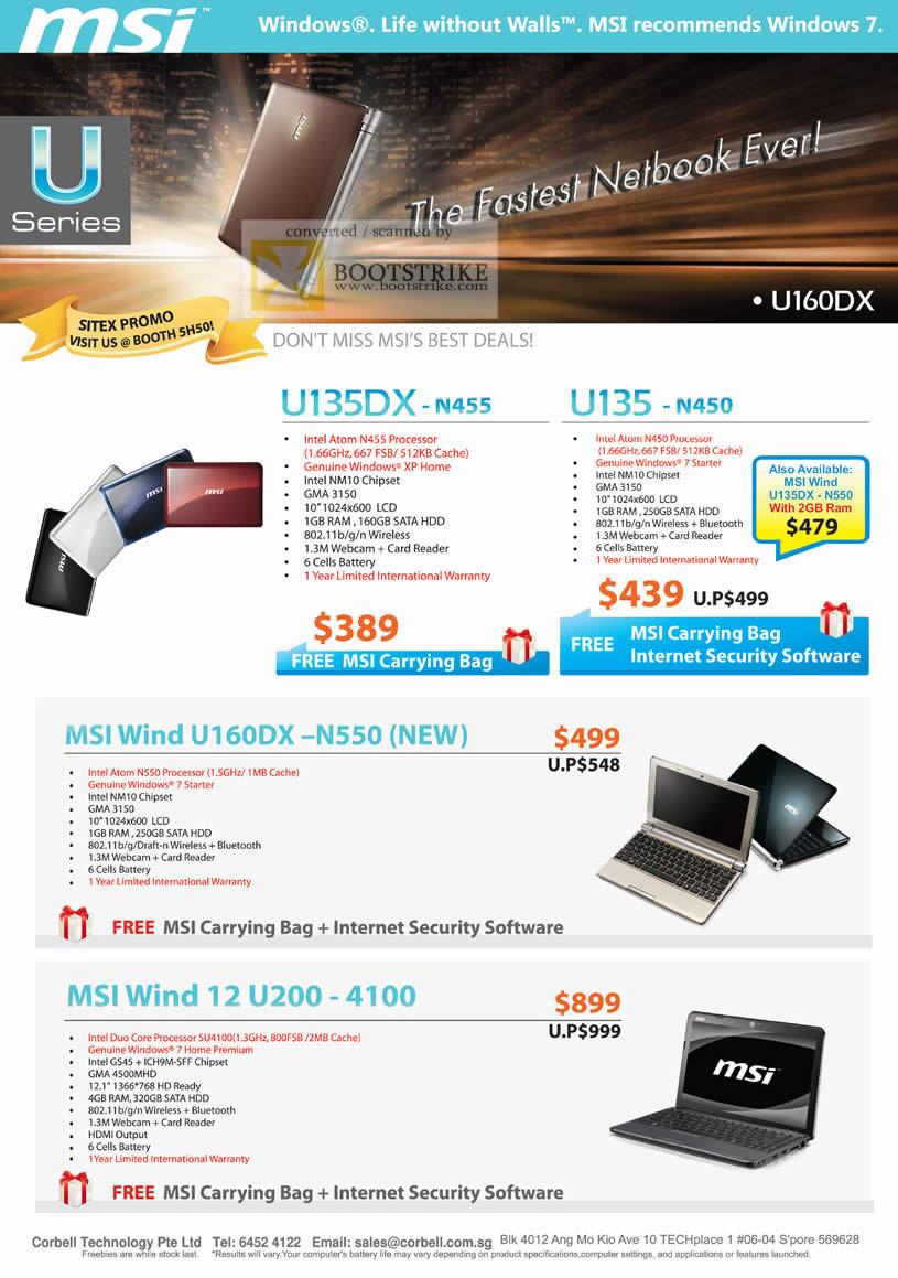 Sitex 2010 price list image brochure of Corbell MSI Notebooks U Series U135DX U135 Wind U160DX N550 12 U200 4100