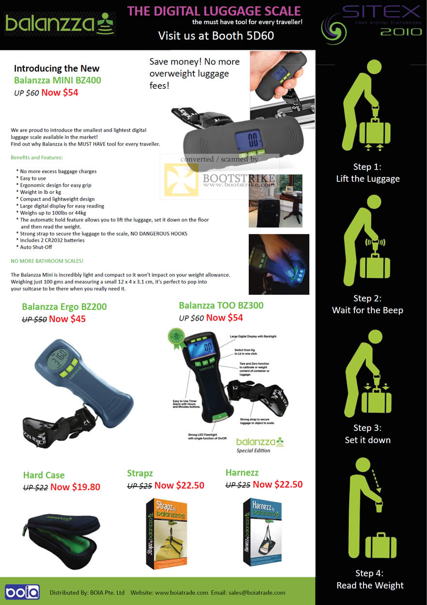 Sitex 2010 price list image brochure of Cresyn Boia Balanzza Digital Luggage Scale Mini BZ400 BZ200 BZ300 Strapz Harnezz