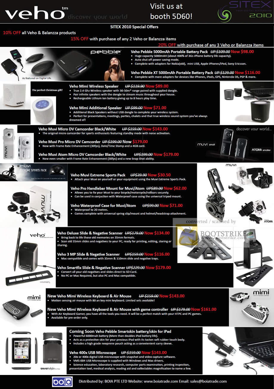Sitex 2010 price list image brochure of Cresyn Boia Veho Battery Pack Speaker Camcorder Muvi Handlebar Scanner Keyboard Microscope