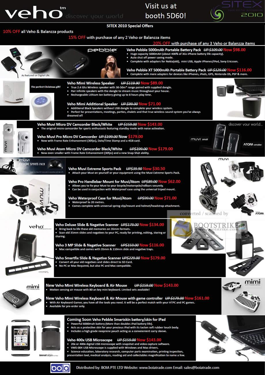 Sitex 2010 price list image brochure of Cresyn Boia Veho Battery Pack Speaker Camcorder Muvi Handlebar Scanner Keyboard Microscope