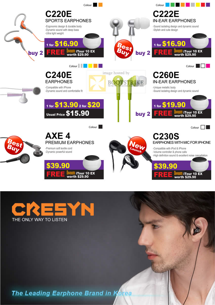 Sitex 2010 price list image brochure of Cresyn Earphones C220E C222E C240E C260E AXE 4 C230S