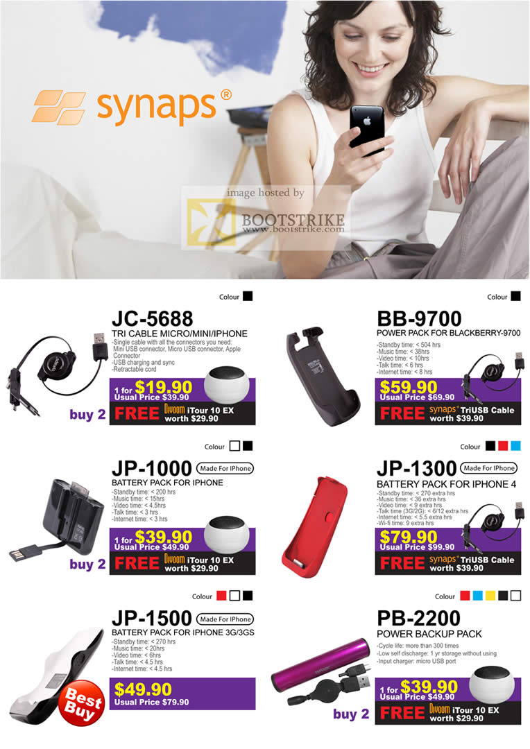 Sitex 2010 price list image brochure of Cresyn Synaps JC 5688 BB 9700 JP 1000 JP 1300 1500 PB 2200 Battery Pack IPhone Blackberry
