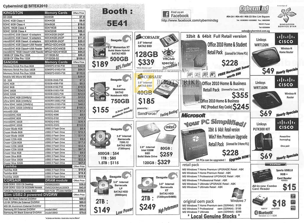 Sitex 2010 price list image brochure of Cybermind Memory Cards SD SDHC MicroSDHC Sandisk Flash Drive Toshiba External Storage HDD Linksys Cisco