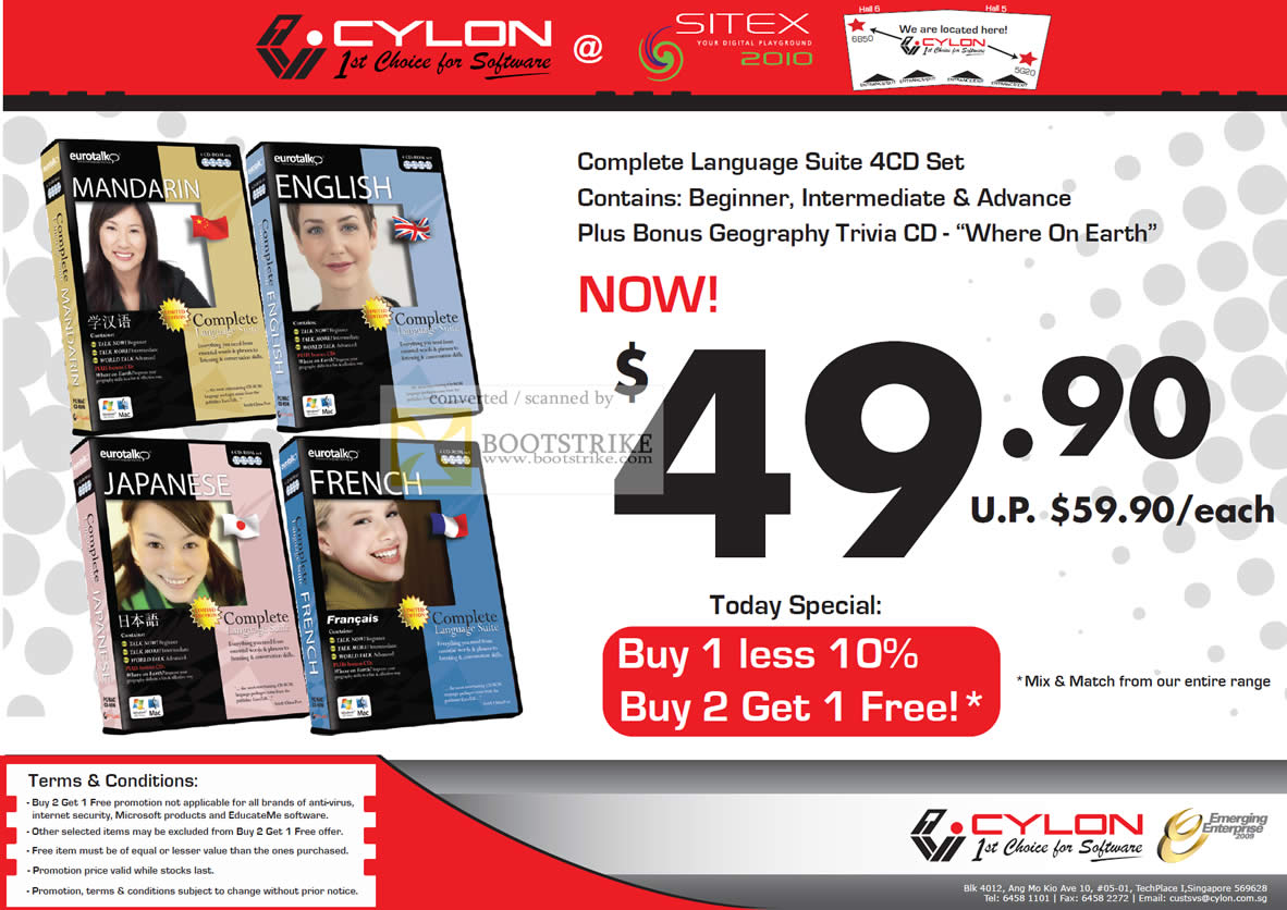 Sitex 2010 price list image brochure of Cylon EuroTalk Mandarin English Japanese French Complete Language Suite Software CD