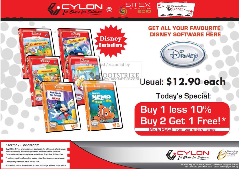 Sitex 2010 price list image brochure of Cylon Interactive Disney Learning Kids Software CD Finding Nemo Pre School Kindergarten