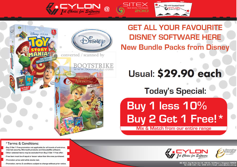 Sitex 2010 price list image brochure of Cylon Interactive Disney Toy Story Mania Tinker Bells Adventure Kids CD Software