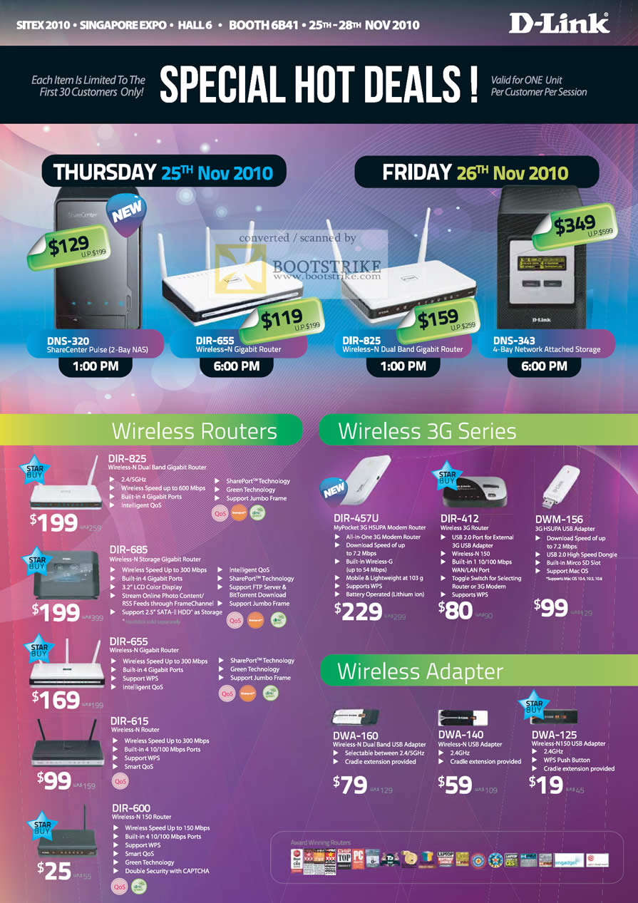 Sitex 2010 price list image brochure of D Link Hot Deals Wireless Routers DIR 825 685 655 615 3G DIR Wireless Adapter