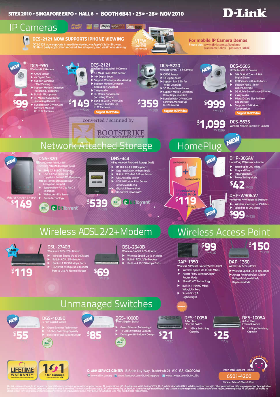 Sitex 2010 price list image brochure of D Link IPCam DCS 930 2121 5220 HomePlug NAS DNS DHP Wireless ADSL2 Model Router Switches DES DGS DSL DAP