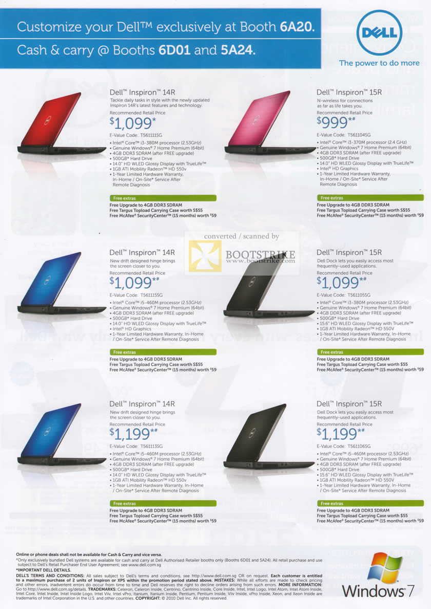 Sitex 2010 price list image brochure of Dell Notebooks Inspiron 14R Inspiron 15R
