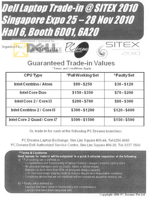 Sitex 2010 price list image brochure of Dell PC Dreams Notebook Trade In Values