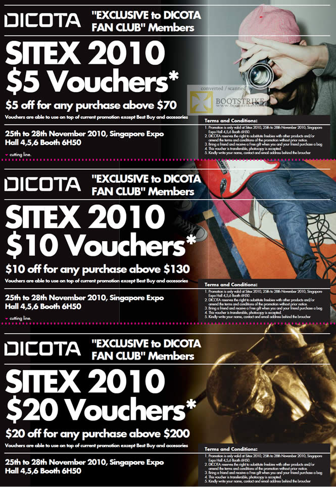 Sitex 2010 price list image brochure of Dicota Fan Club Vouchers
