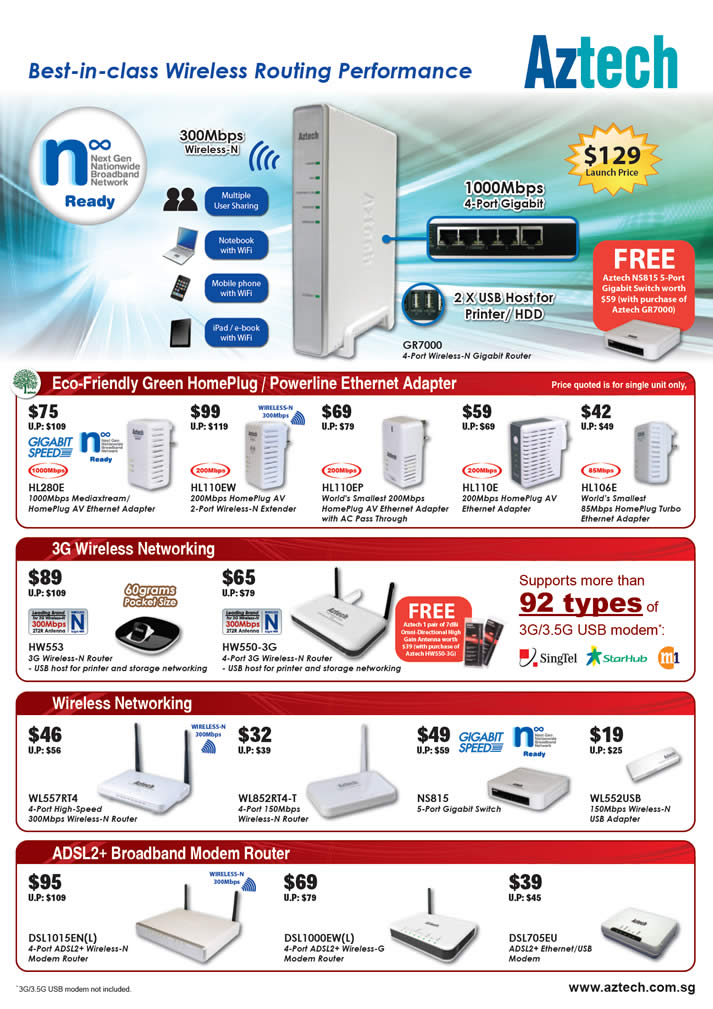 Sitex 2010 price list image brochure of Digital Asia Aztech GR7000 Wireless N Gigabit Router HL280 HomePlug Powerline Ethernet Adapter 3G ADSL2