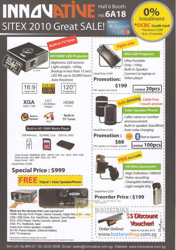 Sitex 2010 price list image brochure of Eastgear Innovative HD1080P LED Projector Mini LED Solar Speaker Phone HD Mini Camcorder