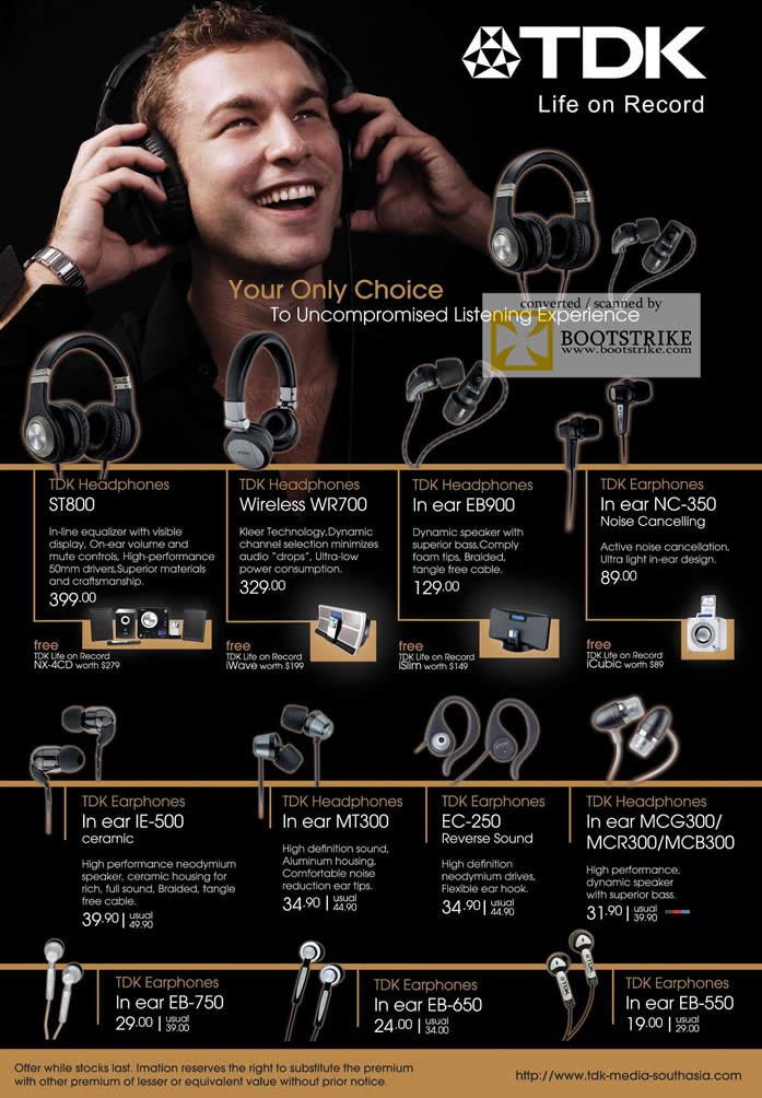 Sitex 2010 price list image brochure of Epicentre Headphones ST800 Earphones In Ear NC 350 IE MT300 EB MCG MCR Wireless