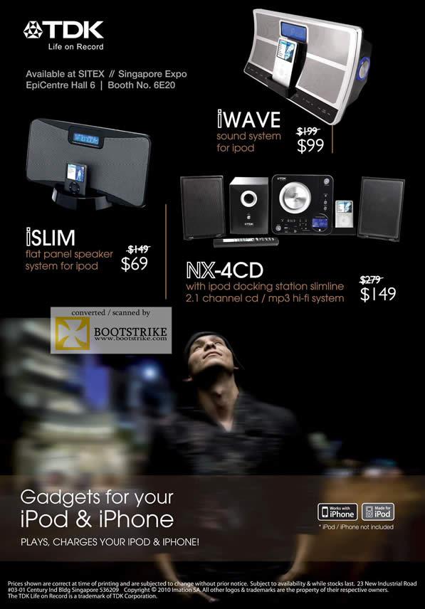 Sitex 2010 price list image brochure of Epicentre TDK ISlim Speaker Ipod IWave NX 4CD Docking Station Slimline