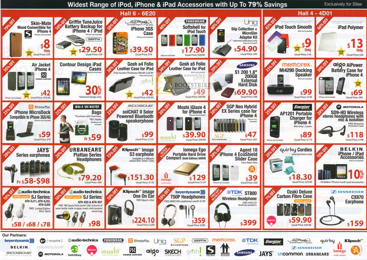 Sitex 2010 price list image brochure of Epicentre IPod IPhone IPad Accessories Skin Case Softshell Klipsch TDK Sennheiser Jays Aigo Memorex Samsung