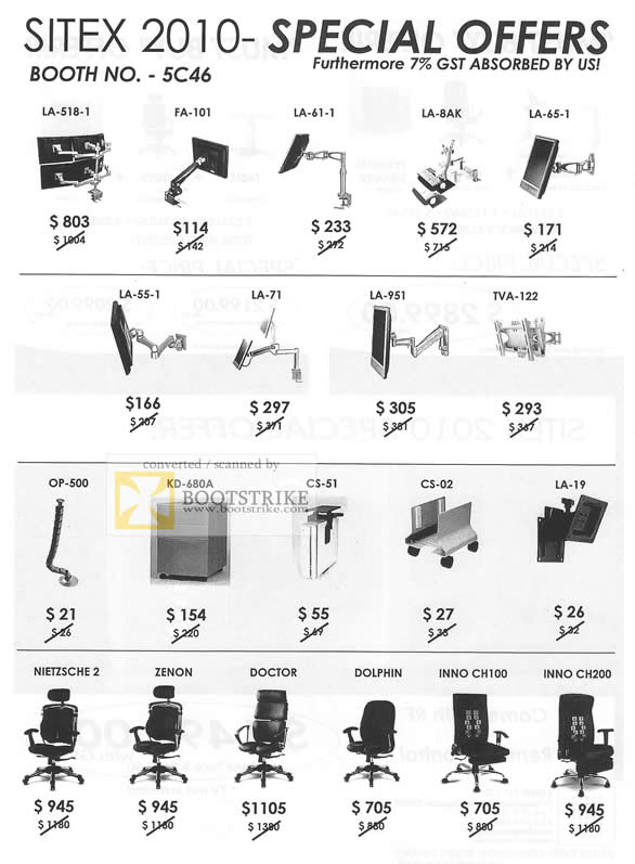 Sitex 2010 price list image brochure of Ewins Computer Chairs Monitor TV Holders