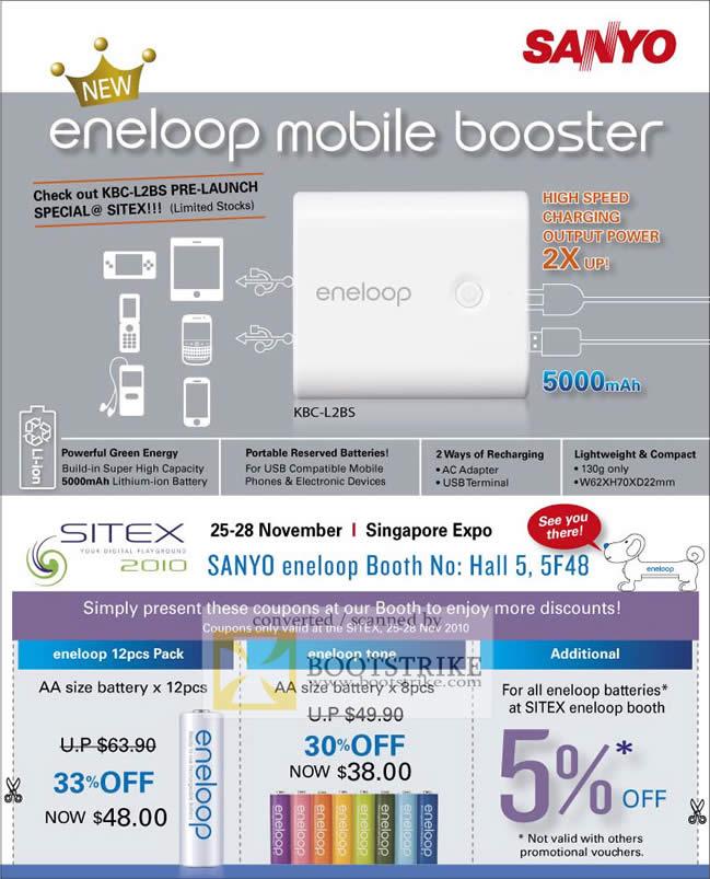 Sitex 2010 price list image brochure of FMI Sanyo Eneloop KBC L2BS AA Battery Vouchers