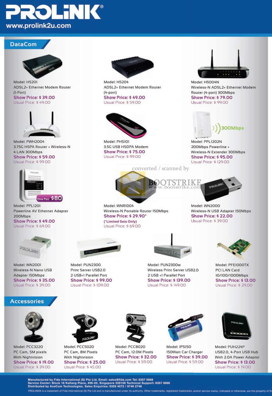 Sitex 2010 price list image brochure of Fida Prolink ADSL Modem Router Wireless N HSPA HSDPA Powerline Adapter Ethernet Print Server Webcam